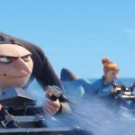 Gru and Lucy on a motorcycle