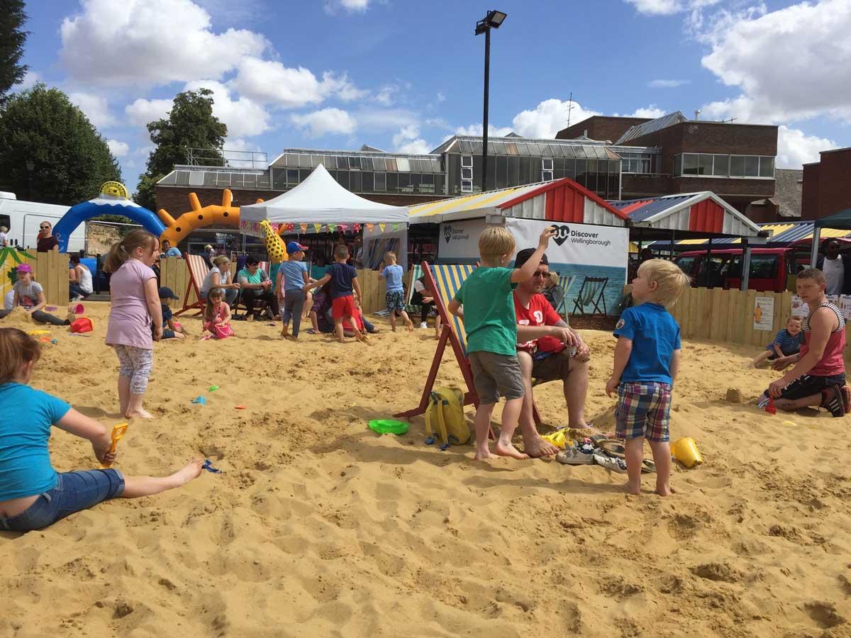 Children playing at the Wellingborough beach.